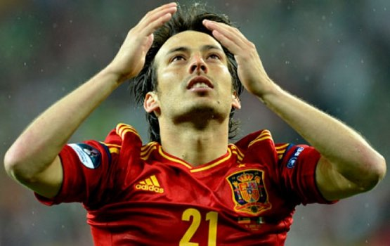 Gol do David Silva - Espanha x Irlanda (Foto: Gabriel Bouys/AFP)