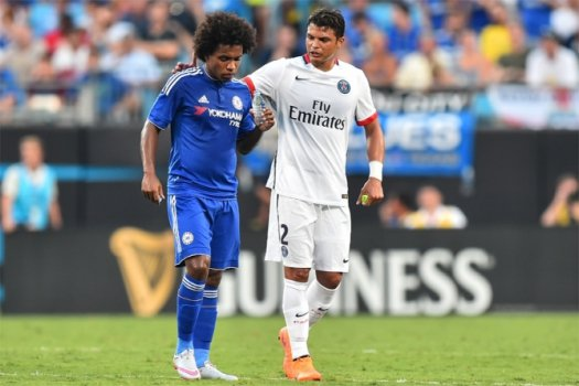 Paris Sain Germain x Chelsea William e Thiago Silva (foto:AFP)