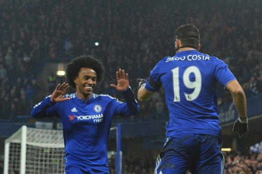 Willian e Diego Costa - Chelsea x Newcastle
