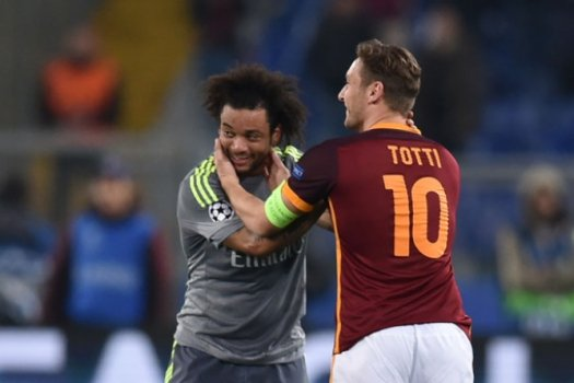 Marcelo e Totti - Roma x Real Madrid