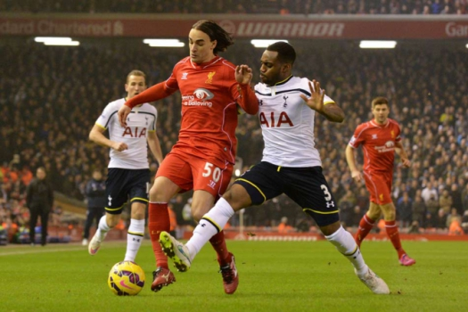 Danny Rose e Lazar Markovic - Premier League: Liverpool x Tottenham (Foto: Paul Ellis/AFP)