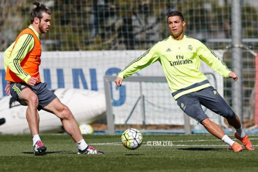Bale e Cristiano Ronaldo - Treino do Real Madrid