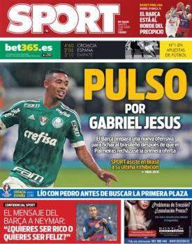 f80e338b3e Gabriel Jesus é capa de jornal e diz que jogar no Barça  seria um ...