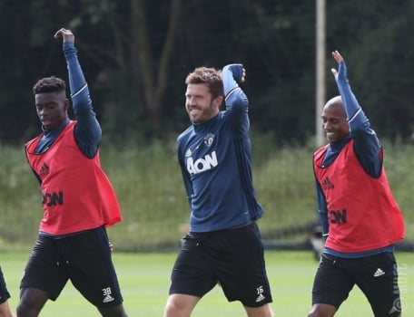 Carrick e Ashley Young - Treino do Manchester United