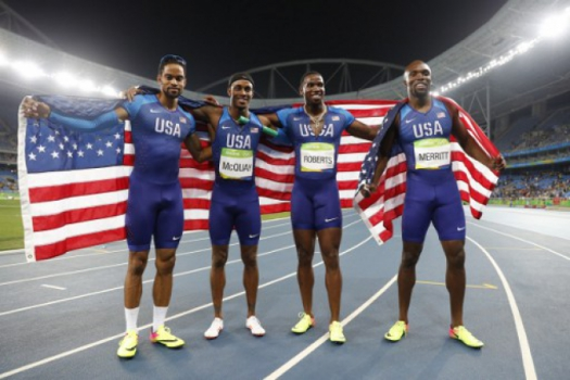 Lashawn Merritt, Gil Roberts, Tony McQuay and Arman Hall
