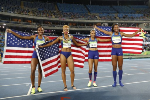 Natasha Hastings, Phyllis Francis, Allyson Felix and Courtney Okolo