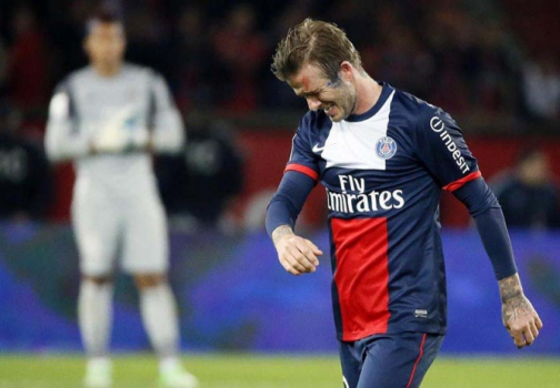 David Beckham chorando na despedida do PSG