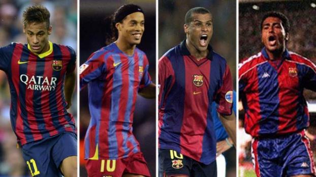 Neymar, Ronaldinho Gaúcho, Rivaldo e Romário.