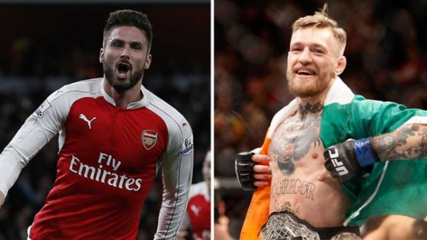 Giroud, do Arsenal, e o lutador de UFC Conor McGregor