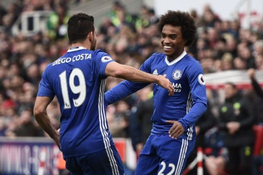 Diego Costa e Willian - Stoke x Chelsea