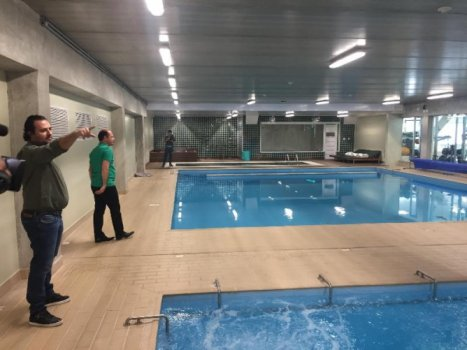 Academia de Futebol - piscinas aquecidas e frias dos atletas
