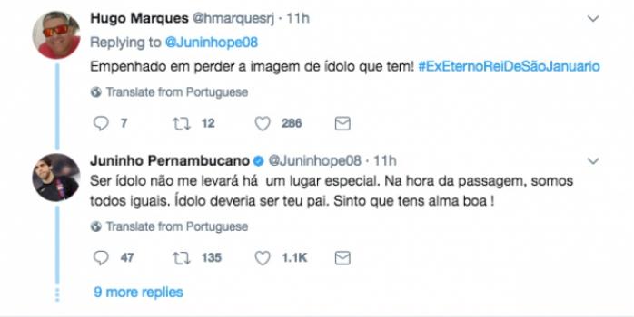 Juninho Pernambucano se envolve em polêmica com seguidores de Bolsonaro
