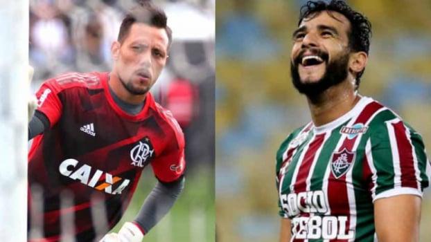 Diego Alves, goleiro do Flamengo x Henrique Dourado, atacante do Fluminense