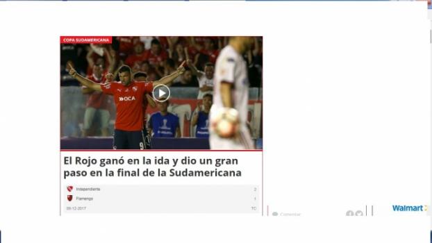Diário Ovación destacou vantagem criada pelo Rojo