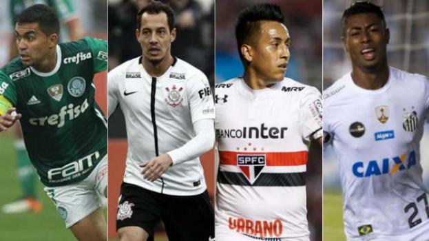 Montagem - Palmeiras, Corinthians, Santos e São Paulo
