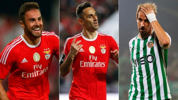 Montagem - Jardel (Benfica) + Jonas (Benfica) + Coentrão (Rio Ave)