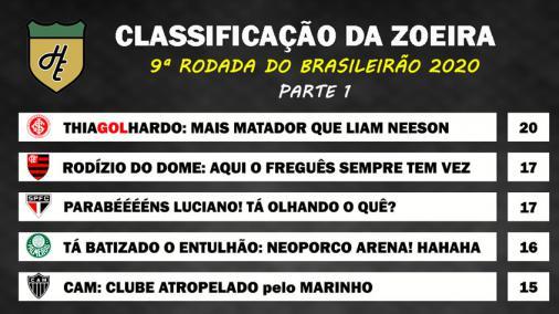 Classificacao Da Zoeira 9ª Rodada Do Brasileirao 2020 Lance