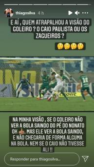 Thiago Silva critica gol anulado em empate do Fluminense: 'Quem atrapalhou a visão do goleiro?'