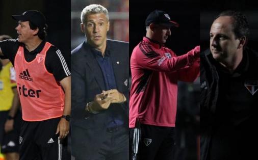 São Paulo teve técnicos diferentes nos quatro jogos em 2021 contra o Red Bull Bragantino